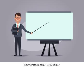 Cartoon Office Worker Giving a Presentation. Vector Illustration