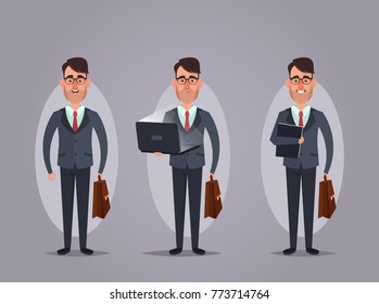 Cartoon Office Worker Holding Case. Vector Illustration