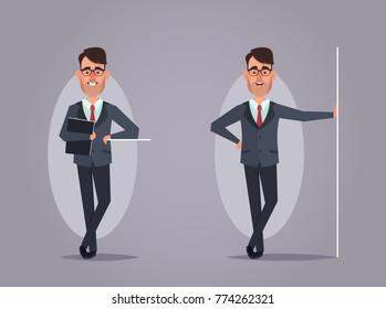 Cartoon Office Worker Isolated. Vector Illustration