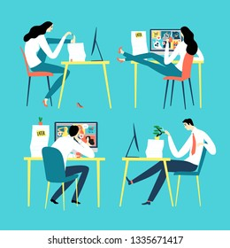 Cartoon office workers doing distacting things  instead of working. Men and women set. Procrastination vector illustration for your design.