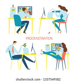 Cartoon office workers doing distracting things  instead of working. Men and women set. Procrastination vector illustration for your design.