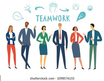 Cartoon office workers. Men and women talking and laughing. Teamwork illustration for your design.