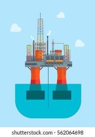 Cartoon Oil Drilling Platform in The Sea or Ocean Flat Design Style. Vector illustration