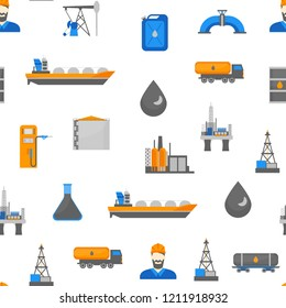 Cartoon Oil Petroleum Processing Seamless Pattern Background on a White Fuel Technology Industry Elements Concept Flat Design Style. Vector illustration of Gasoline Extraction