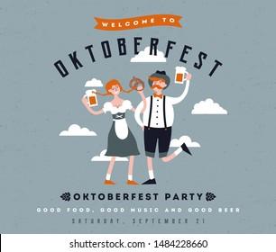 Cartoon Oktoberfest vector illustration. Funny people celebrate holiday. Party invitation