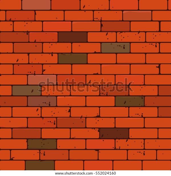 Cartoon Old Brick Wall Texture Vector Stock Vector (Royalty