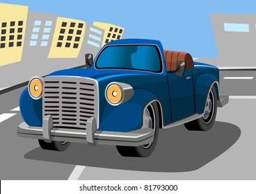 cartoon old car eight