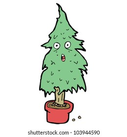 cartoon old christmas tree
