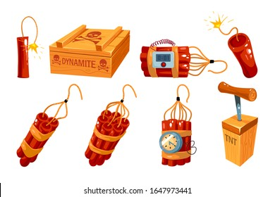 Cartoon old dynamite icon set isolated on white. Bombs and explosive objects illustration. Red dynamite bomb stick with timer clock. Vector illustration