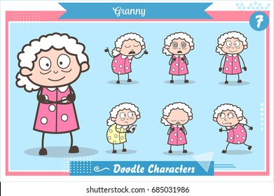 Cartoon Old Grandma Character Expressions and Actions Vector Set