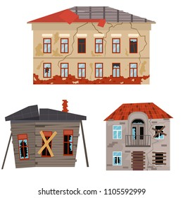 Cartoon Old Houses Set Broken Exterior Facade Concept Element Flat Design Style. Vector illustration of Ruined Building