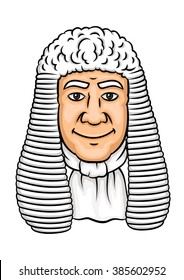 Cartoon old judge in white wig and collar. Law profession, justice and legislation theme design