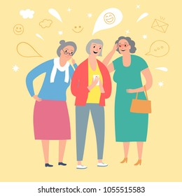 Cartoon old ladies looking video and laughing. Joke and fun illustration.