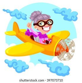 cartoon old lady flying an airplane