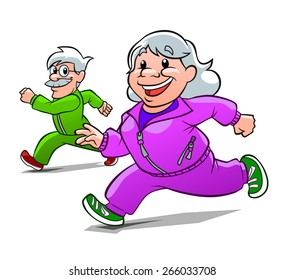 Cartoon old lady and old man engaged in jogging.