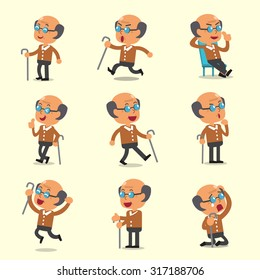 Cartoon old man character poses on yellow background