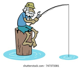 Cartoon of old man fishing