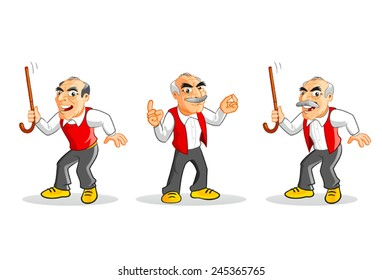 Cartoon old man illustrations set.
