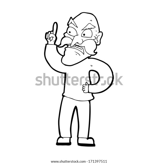 Cartoon Old Man Laying Down Rules Stock Vector Royalty Free 171397511