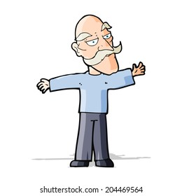 cartoon old man spreading arms wide