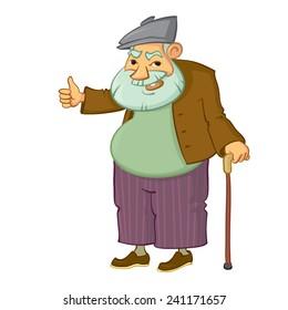 cartoon  old man with thumb up