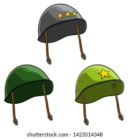 Cartoon old retro metal soviet or american soldier helmets with yellow stars. Isolated on white background. Vector icon set.