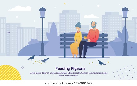 Cartoon Old Senior Couple Character Sitting on Bench in City Urban Park Feeding Pigeons Birds with Breadcrumbs Poster. Happy Smiling Mature Family. Grey-Haired People Rest. Vector Flat Illustration