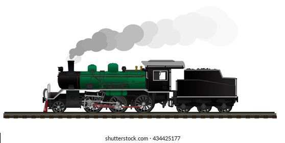 Cartoon Old steam locomotive green and black World War generation isolated on white background. Vector Illustration