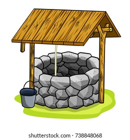 cartoon old stone well with a rope, a bucket and wooden elements