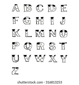 cartoon old tattoo letters