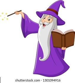 Cartoon old wizard holding a magic book