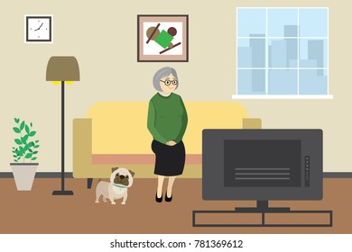Cartoon old woman or grandmother at home watching tv with dog,domestic interior with furniture,flat vector illustration