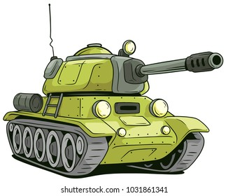 Cartoon olive military army large tank isolated on white background. Vector icon.