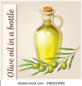 Cartoon olive oil bottle illustration on beige background. Organic vegetarian product food icon. Natural ingredient element with a sprig of olive tree