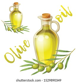 Cartoon olive oil bottle and olive tree branch for packaging design. Vector icon of vegetable oil. Fresh organic food illustration