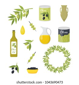 Cartoon Olive Oil Elements Set Organic Food Concept Flat Design Style Include of Bottle, Branch and Drop. Vector illustration