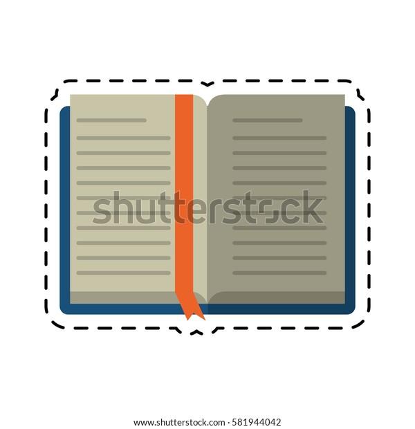cartoon open book school learning library