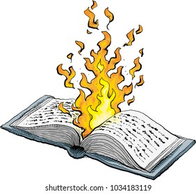 A cartoon of an open book that is so hot that it is on fire.