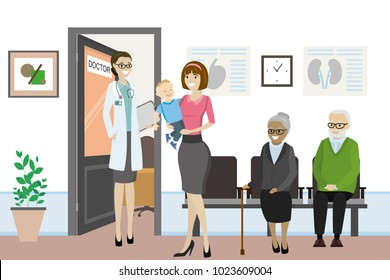 Cartoon open door to the doctor's office and different people are waiting,caucasian female nurse in front of the office,flat vector illustration
