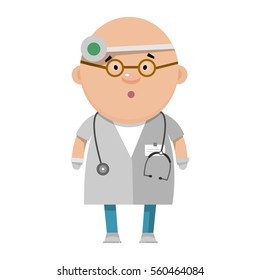 Cartoon optometrist. A medical worker in flat style. Vector illustration isolated on white background