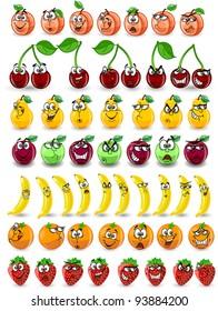 Cartoon orange, banana, apples, strawberry, pear, cherry, peach