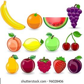 Cartoon orange, banana, apples, strawberry, pear, cherry, peach, plum, lemon, grapes, watermelon, raspberry
