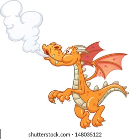Cartoon orange smoking dragon. Vector clip art illustration with simple gradients. All in a single layer.