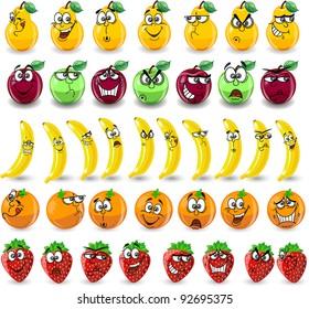 Cartoon oranges, bananas, apples, strawberries,pears with emotions