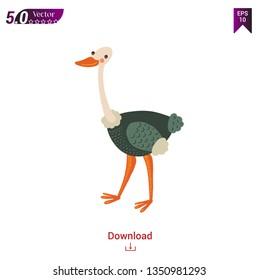 Cartoon ostrich animal vector