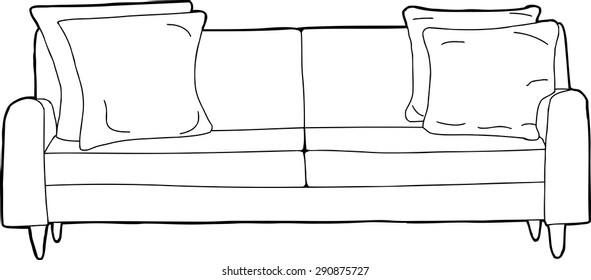 Cartoon outline of single love seat sofa with corner cushions