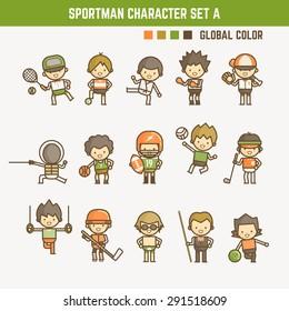 cartoon outline sportman character set