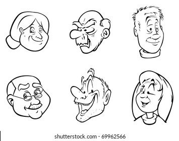 cartoon outline vector illustration of old people faces