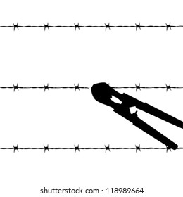 Cartoon outline vector illustration showing a barbed wire fence being cut by wire cutters