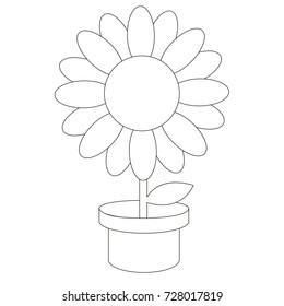 Cartoon outlined illustration with thin line black stroke. Pot Flower